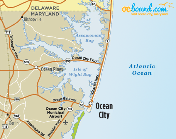 Driving Directions To Ocean City MD Ocean City MD OCboundcom - Ocean city md map