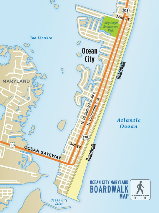 Ocean City MD Boardwalk Map Ocean City MD OCboundcom - Ocean city md map