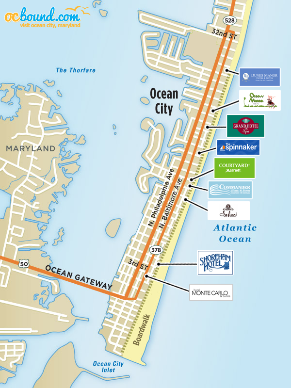 Ocean City Hotels >> Ocean City Md Hotel Map Ocean City Md Ocbound Com